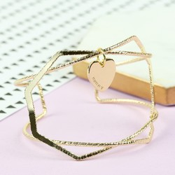 Geometric Gold Bangle with Name