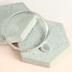 Personalised Silver 'Grandmothers Are Made of Gold' Meaningful Word Bangle