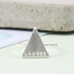 Personalised Brushed Silver Triangle Ring