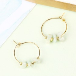 Orelia Hoop Earrings with Semi-Precious Beads