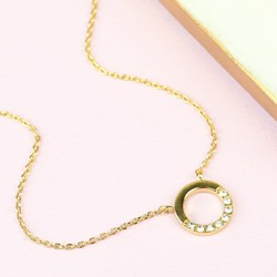 Personalised Orelia Open Crystal Circle Pendant Necklace
