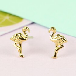 Orelia Tiny Gold Flamingo Stud Earrings
