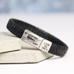 Men's Leather Engraved 'My Superhero Daddy' Bracelet