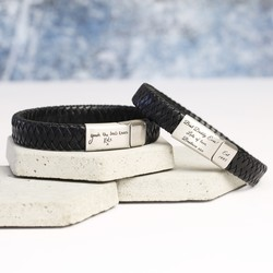 Men's Black Leather Bracelet Engraved with Your Handwriting - Shiny