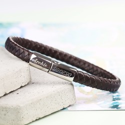 Men's Engraved Brown Woven Bracelet with Shiny Clasp