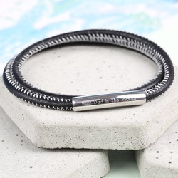 Personalised Men's Black and White Stitched Leather Wrap Bracelet