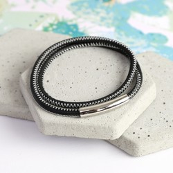 Men's Black and White Stitched Leather Wrap Bracelet