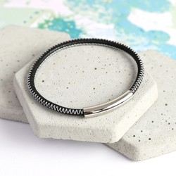 Men's Black and White Stitched Leather Bracelet