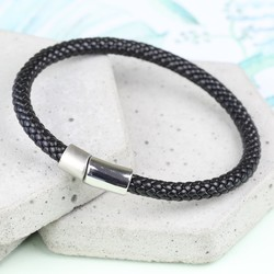 Men's Black Braided Leather Bracelet with Dual Clasp