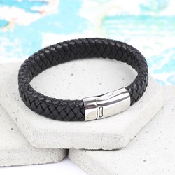 Men's Black Leather Bracelet with Double Sided Clasp