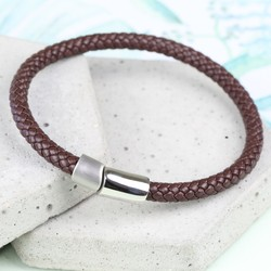 Men's Brown Braided Leather Bracelet with Dual Clasp