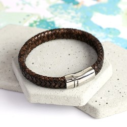 Men's Brown Leather Bracelet with Double Sided Clasp