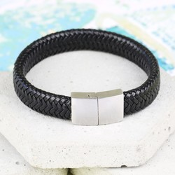 Men's Woven Black Leather Bracelet with Block Clasp