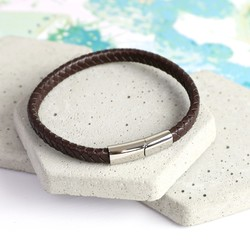 Men's Brown Woven Bracelet with Shiny Clasp