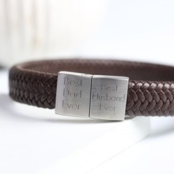 Men's Personalised Brown Leather Bracelet with Block Clasp
