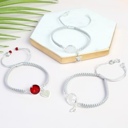 Personalised Round Birthstone Friendship Bracelet with Initial