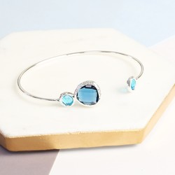 Blue Faceted Gem Bangle In Silver