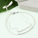 Leather and Ball Chain Curved Bar Bracelet In Stone