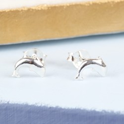Tiny Sterling Silver Dolphin Stud Earrings