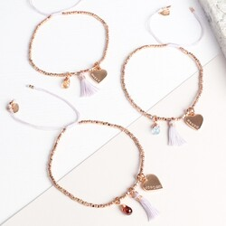 Personalised Rose Gold Birthstone Bracelet with Tassel