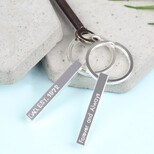 Personalised Shiny Silver Bar Keyring