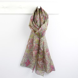 Olive and Pink Floral Print Silk Scarf