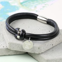 Personalised Men's Black Leather Knot Bracelet