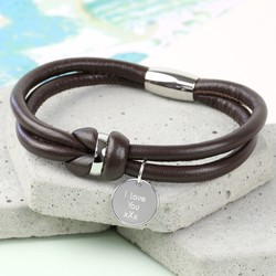 Personalised Men's Brown Leather Knot Bracelet
