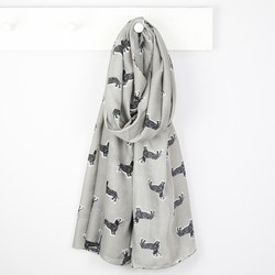 Illustrated Sausage Dog Scarf in Grey
