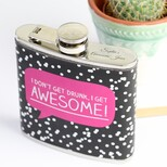 Personalised Happy Jackson 'I Get Awesome!' Hip Flask