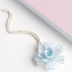 Acrylic Rose Necklace in Ice Blue