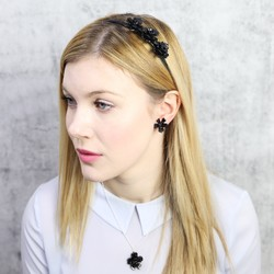 Acrylic Rose Hairband in Black
