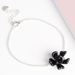 Acrylic Single Rose Bracelet in Black