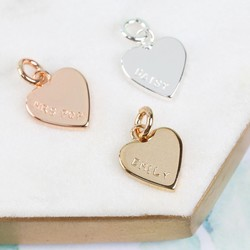 Personalised Hand-Stamped Small Heart Charm