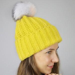 Mustard Bobble Hat with Grey Pom Pom