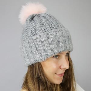Grey Bobble Hat with Pink Pom Pom