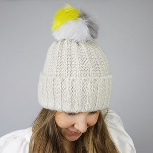 Oatmeal Bobble Hat with Colourful Pom Pom