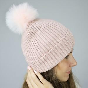 Pink Hat with White Grey Pink Mix Pom Pom