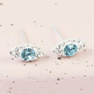 Sterling Silver diamonte eye  Stud Earrings