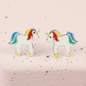 Sterling Silver Unicorn Rainbow  Stud Earrings