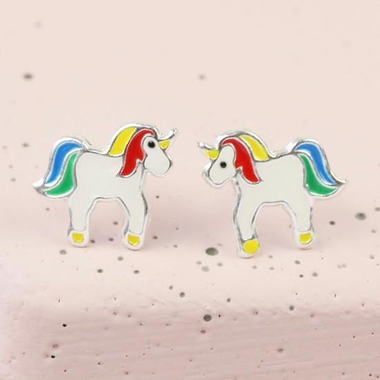 Sterling Silver Unicorn Rainbow  Stud Earrings