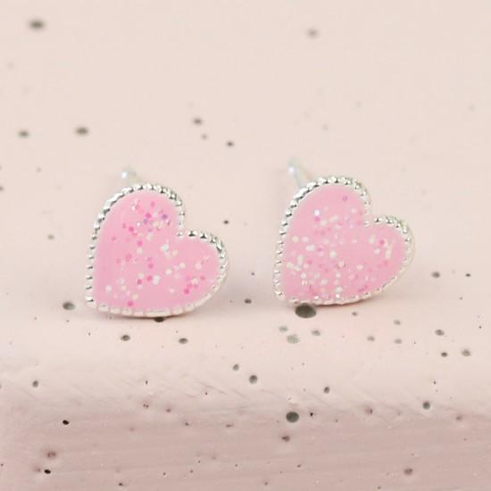 Sterling Silver Glittery Pink Heart Stud Earrings