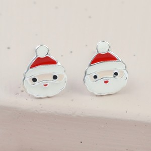 Sterling Silver Enamel Santa Christmas Earrings