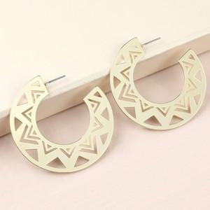 Large Aztec Style Hoop Earrings in Gold