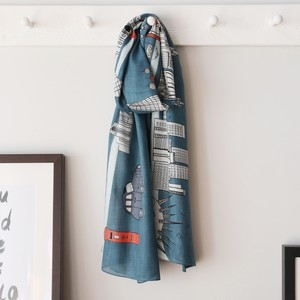 London Blue and teal Illustration Scarf