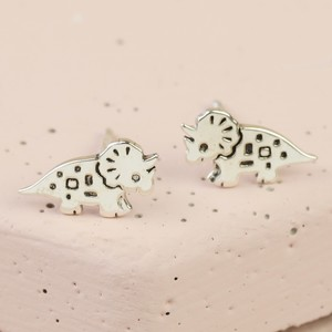 Sterling Silver Triceratops Dinosaur Stud Earrings