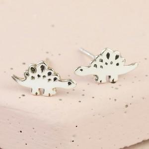Sterling Silver Stegosaurus Dinosaur Stud Earrings