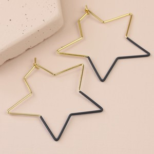Gold & Navy Star Hoop Earrings