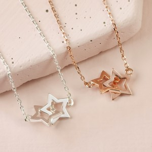 Silver Interlocking Stars Necklace