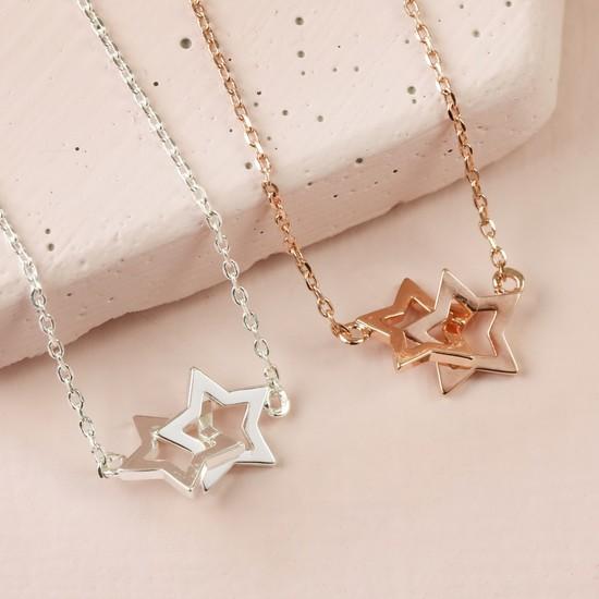 Silver Interlocking Stars Necklace